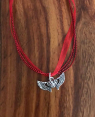 Resell for 12.00 or more 17 inch red organza plus ext Pewter flaming winged heart pendant Style #FWHN051818