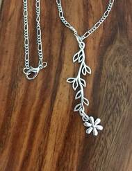 Resell for 12.00 or more 20 inch silver tone chain Pewter leaf vine with flower charm Style #LVFN051818