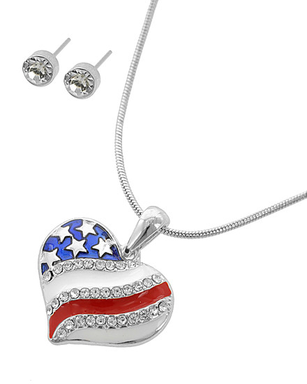 """resell for 33.00 or more Silver Tone / Multi Color Epoxy & Clear Rhinestone / Lead&nickel Compliant / Post (earrings) / Independence Day / Pendant / Heart / Necklace & Earring Set  •   LENGTH : 16"""" + EXT •   PENDANT : 1 1/8"""" X 1 1/4"""" •   EARRING : 3/16"""" DIA •   SILVER  Style #RWBHPS052118"""