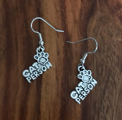 Resell for 5.00 or more Pewter charm paw print cat person Surgical steel ear wires Style #CPE052218g