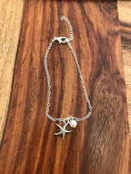 "Resell for 9.00 or more Anklet Antique Silver Starfish Imitation Pearl 21.5cm(8 4/8"") long Style #SA052518"