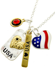 "resell for 33.00 or more Two-tone / Multi Color Epoxy & Red Rhinestone / Lead Compliant / Metal / Independence Day / Message / Heart / Pendant / Necklace  •   LENGTH : 18 1/2"" + EXT •   PENDANT : 1"" X 3/4""	 •   SILVER/MULTI  Style #USAN052818"