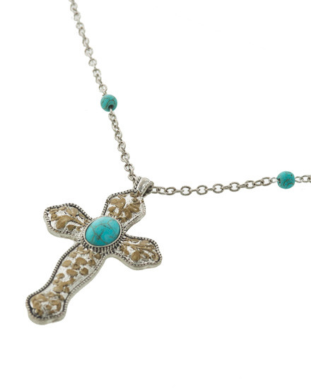 "resell for 33.00 or more Silver Tone / Turquoise Stone / Lead&nickel Compliant / Metal / Religious / Pendant / Cross W/flower / Necklace  •   LENGTH : 31"" + EXT •   PENDANT : 1 5/8"" X 3""	 •   SILVER/TURQUOISE  Style #LTTTCN052918"