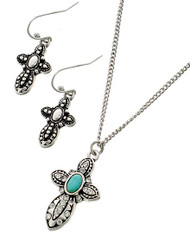 "resell for 48.00 or more Burnished Silver Tone / Turquoise Stone / Lead&nickel Compliant / Fish Hook (earrings) / Religious / Cross / Delicate / Necklace & Earring Set  •   LENGTH : 16 3/4"" + EXT •   PENDANT : 3/4"" X 1""	 •   B.SILVER/TURQUOISE  Style #TCNS052918"