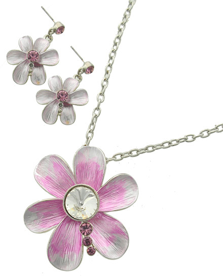 """resell for 33.00 or more Silver Tone / Purple / Clear Glass / Lead&nickel Compliant / Metal / Fish Hook (earrings) / Pendant / Flower / Necklace & Earring Set /  •   LENGTH : 16 1/2"""" + EXT •   PENDANT : 2"""" X 2"""" •   EARRING : 1"""" X 1 1/2"""" •   SILVER/PURPLE  Style #PCNS053118"""