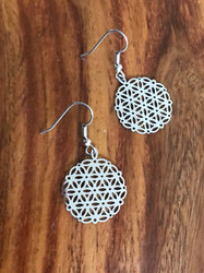 "Resell for 9.00 or more Laser lace flower of life  1"" diameter Surgical steel ear wires Style #LLFLE053118"