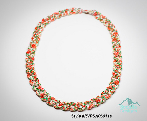 RVPSN060118   Painted steel, multicolored, 15x12mm twisted curb with flower pattern, 18 inches with lobster claw clasp