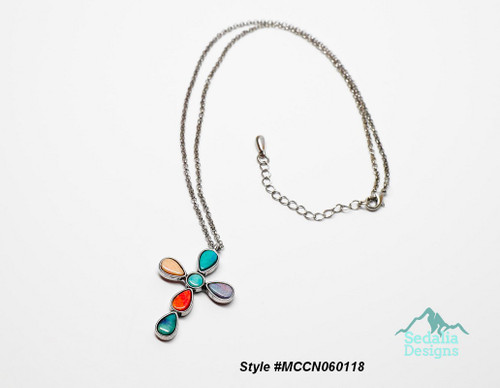 Style #MCCN060118  Resin with silver-plated steel and pewter, multicolored, 48x30mm cross, 20 inch silver tone chain with 2-inch extender chain and lobster claw clasp