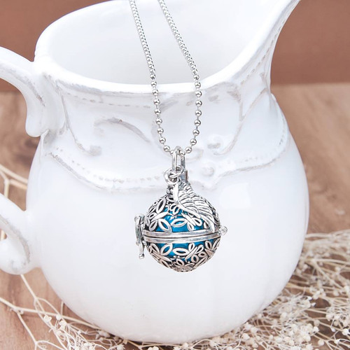 """resell for 21.00 or more Mexican Angel Caller Bola Wish Box Pendant Wing Butterfly Hollow With Copper Blue Harmony Chime Ball 53.7cm(21 1/8"""") long Style #ACBB060618"""