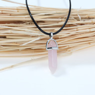 "resell for 15.00 or more  Natural Rose Quartz Yoga Healing Gemstone Necklace Black PU Cord Pink Pendant 44.5cm(17 4/8"") long Style #RQPN060618"