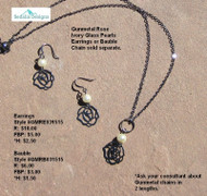 Gunmetal Rose Ivory Glass Pearl Bauble; earrings & chain sold separately