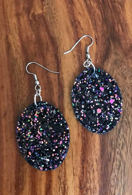 """Resell for 21.00 or more Black pailette leatherette earrings 41mm(1 5/8"""") x 31mm(1 2/8"""") Surgical steel ear wires Style #BPLE060718"""