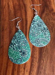 "Resell for 25.00 or more Green paisley leatherette earrings 2 1/4"" x 1 3/8"" Surgical steel ear wires Style #GPLE060718"