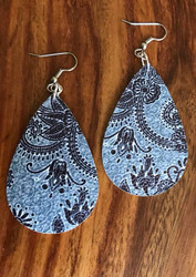 "Resell for 25.00 or more Grey blue paisley leatherette earrings 2 1/4"" x 1 3/8"" Surgical steel ear wires Style #GBPLE060718"