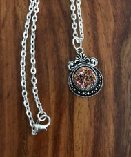 "Resell for 12.00 or more 20 inch silver tone chain Fuchsia drusy set in pewter bezel 1 1/8""x 3/4"" Style #FDRN060718"