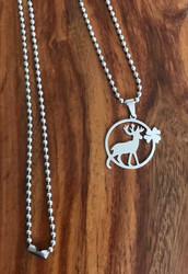 """Resell for 12.00 or more Stainless steel 23 inch ball chain Stainless steel deer cut out / buck 1 1/4""""x 1"""" Style #SBPN060718"""