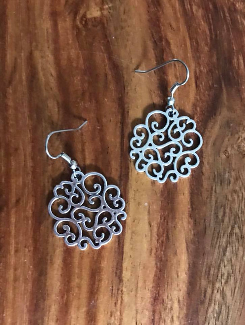 Resell for 9.00 or more Pewter ornate earrings 26x25mm Light weight Surgical steel ear wires Style #OSTE060718