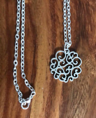 Resell for 12.00 or more 18 inch silver tone chain  Pewter ornate disc 26x25mm Style #OSTDN060718
