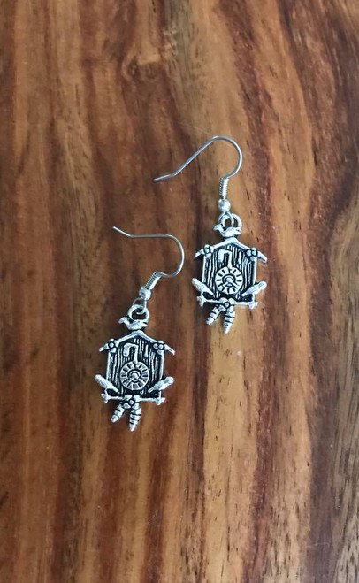 "Resell for 6.00 or more  Pewter cuckoo clock charm 1 5/8"" Surgical steel ear wires Style #CCE060818"