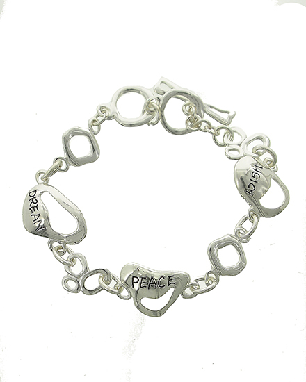 "resell for 24.00 or more Antique Silver Tone / Lead Compliant / Metal / Toggle Closure / Message / Bracelet /  •   LENGTH : 7 1/4"" - 8"" •   WIDTH : 3/4""  •   SILVER Style #DPWB061118"