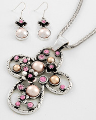 "resell for 33.00 or more Antique Silver Tone / Pink Rhinestone / Lead&nickel Compliant / Flower / Cross Pendant Necklace & Fish Hook Earring Set  •   LENGTH : 17"" + EXT •   PENDANT : 2 1/2"" W X 3 1/2"" L •   EARRING : 1 5/8"" L  •   RHODIUM/PINK Style #PCNS061218"