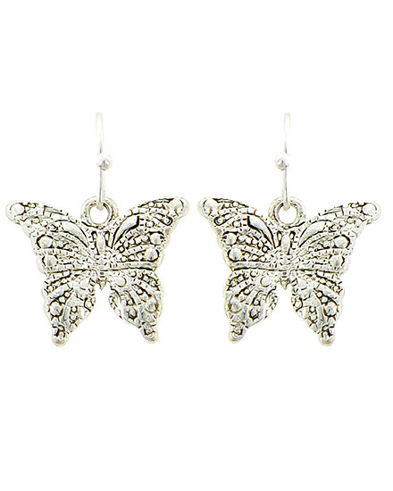 """resell for 21.00 or more Silver Tone / Lead&nickel Compliant / Metal / Fish Hook / Dangle / Butterfly / Earring Set  •   WIDTH X LENGTH : 3/4"""" X 7/8"""" •   SILVER  Style #STBES061218"""