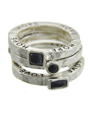 "resell for 33.00 or more Faith Love Hope / Antique Silver Tone / Jet Acrylic / Lead&nickel Compliant / Metal / 3pcs Stackable / Stretch / Ring  •   SIZE FREE : STRETCH •   WIDTH : 1/2""	 •   SILVER/BLACK  Style #FHLBR061218"