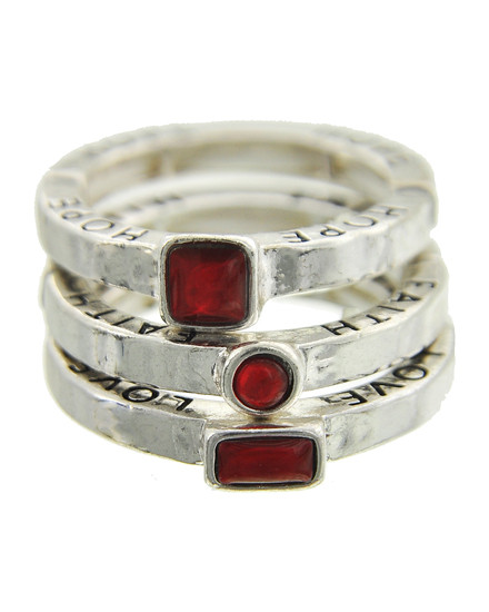 "resell for 33.00 or more Faith Love Hope / Antique Silver Tone / Red Acrylic / Lead&nickel Compliant / Metal / 3pcs Stackable / Stretch / Ring  •   SIZE FREE : STRETCH •   WIDTH : 1/2""	 •   SILVER/RED  Style #FHLRRS061218"