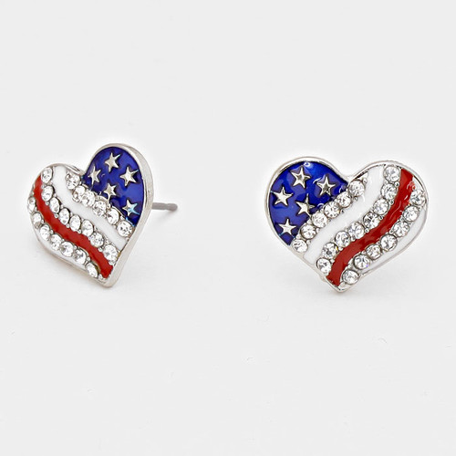 """resell for 21.00 or more • Color : White, Red, Blue, Rhodium, Clear • Theme : Patriotic  • Size : 5/8"""" W, 1/2"""" L  • Post Back • USA • Heart American Flag Stud Earrings Style #RWBHPE061418"""