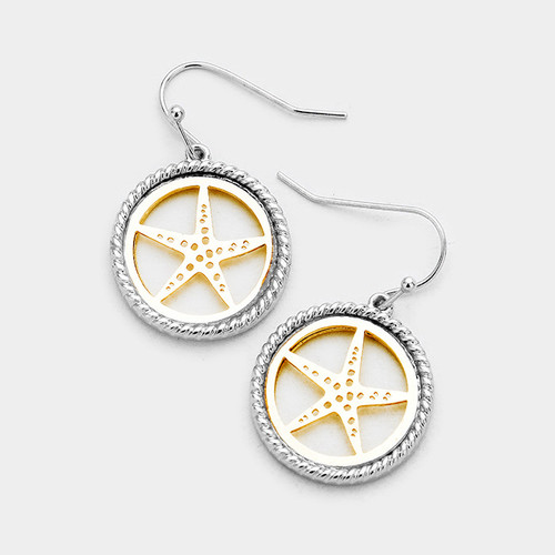 """resell for 18.00 or more • Color : Gold tone, Rhodium • Theme : Sea Life, Starfish  • Size : 0.75"""" X 1.25"""" • Fish Hook Back • Material : Lead and nickel compliant • Starfish Two Tone Metal Dangle Earrings Style #TTSFE061418"""