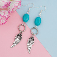 "resell for 15.00 or more Cable Twisted Earrings Antique Silver Wing Circle Ring Imitation Turquoise 84mm(3 2/8"") x 13mm( 4/8""), Post/ Wire Size: (21 gauge) Style #TAWDE061418"
