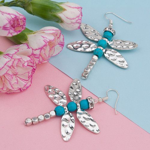 "resell for 15.00 or more Antique Silver Dragonfly Animal Wing Imitation Turquoise 63mm(2 4/8"") x 42mm(1 5/8"") Style #TDDE061418"