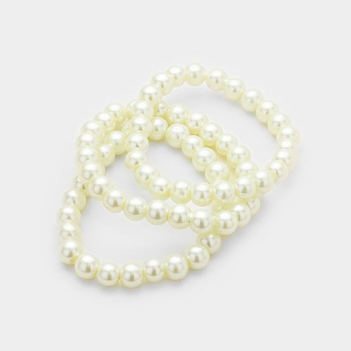 resell for 15.00 or more 7.5 inch stretch faux pearl bracelet set • Color : Cream • Theme : Pearl  • Bracelet Size : 8mm Style #CGPBS061518