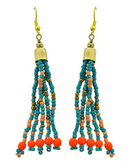 "resell for 12.00 or more Gold Tone / Lt.blue & Orange Acrylic Seed Beads / Lead Compliant / Fish Hook / Dangle / Earring Set  •   WIDTH X LENGTH : 5/8"" X 3 1/8""	 •   THREE TONE/TURQUOISE/ORANGE  Style #BOTS061818"