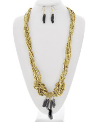 """resell for 21.00 or more Burnished Gold Tone / Gold Ccb (bead) & Black Acrylic / Lead Compliant / Fish Hook (earrings) / Multi Strand / Y-neck / Long Neck & Earring Set /  •   LENGTH : 32 1/4"""" + EXT •   EARRING : 1/2"""" X 2"""" •   DROP : 4 1/4"""" •   GOLD/BLACK  Style #GTMSN061818"""