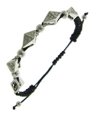 """resell for 12.00 or more Rhodiumized / Clear Rhinestone & Black Cord / Lead Compliant / Metal / Adjustable / Bracelet /  •   SIZE FREE : ADJUSTABLE •   WIDTH : 5/16"""" •   SILVER/BLACK  Style #RBCB061818"""