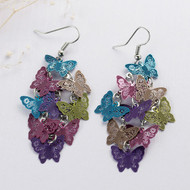 "resell for 15.00 or more Filigree Stamping Earrings Butterfly Multicolor Enamel 69mm(2 6/8"") long Style #MCFBE061918"
