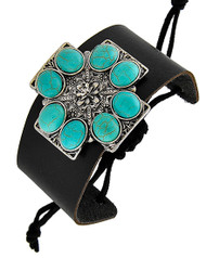 "resell for 18.00 or more Burnished Silver Tone / Black Leatherette & Turquoise Stone / Lead Compliant / Adjustable / Western Theme / Religious / Cross / Band / Bracelet /   •   SIZE FREE : ADJUSTABLE •   WIDTH : 1 7/8""	 •   SILVER/BLACK  Style #TSWBLB061918"