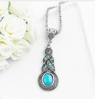 resell for 15.00 or more 20 inch silvertone chain Water drop pendant/ pewter / turquoise magnesite/ crystal Style #WDTN061918