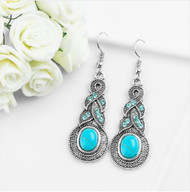 resell for 12.00 or more Pewter Water Drop Style Earrings Turquoise Magnesite/ crystal 1.5 inch drop. Style #TWDE061918