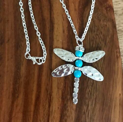 """Resell for 15.00 or more 20 inch silver tone chain  Pewter turquoise magnesite dragonfly pendant is 2 1/2"""" x 1 5/8"""" Style #TDFN062218"""