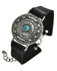 """resell for 18.00 or more Burnished Silver Tone / Black Leatherette / Turquoise Stone / Lead Compliant / Metal / Lobster-claw / Western Theme / Band / Bracelet /  •   LENGTH : 7"""" + EXT •   WIDTH : 5/8"""" •   TOP FACE : 1 3/8"""" DIA •   SILVER/BLACK  Style #BBBL062518"""