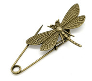 resell for 9.00 or more Antique Bronze Dragonfly Safety Pins Brooches 6.9x3cm (2 3/4 inches)  Style #DFBP062818