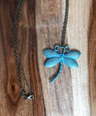 "Resell for 12.00 or more 30 inch antiqued brass chain  Patina dragonfly pendant 2 3/8 x 2 1/5"" Style #PDPN062818"