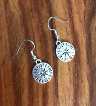 Resell for 5.00 or more Pewter compass earrings surgical steel ear wires  16mm Style #CE062918g