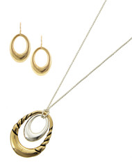 "resell for 36.00 or more Antique Gold & Silver Tone / Lead&nickel Compliant / Metal / Adjustable Closure / Fish Hook (earrings) / Open Oval / Pendant / Necklace & Earring Set  •   LENGTH : ADJUSTABLE : 28: MAX •   PENDANT : 1 1/4"" X 1 11/16"" •   EARRING : 11/16"" X 1 1/4""	 •   SILVER/GOLD  Style #TTHNS070218"