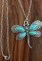 "Resell for 15.00 or more 30 inch figaro chain silver tone Pewter dragonfly w imitation turquoise 2 3/8x 2 1/8"" Style #LTDN070518"