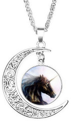 "resell for 15.00 or more Necklace  Horse Antique Silver White Moon 51cm(20 1/8"") long,  Style #WMU070618"