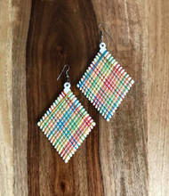 "Resell for 9.00 or more Wood with string boho earrings  2 3/8 x 4"" White with bright string Style #WWSBE070618"