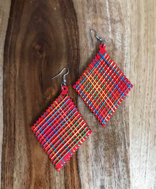 """Resell for 9.00 or more Wood with string boho earrings  2 3/8 x 4"""" Red  with bright string Style #RWBE070618"""